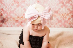 Cream Cotton Hat with Pale Pink Bow-Rae-Mi