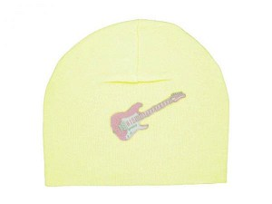 Cream Applique Hat with Pale Pink Guitar