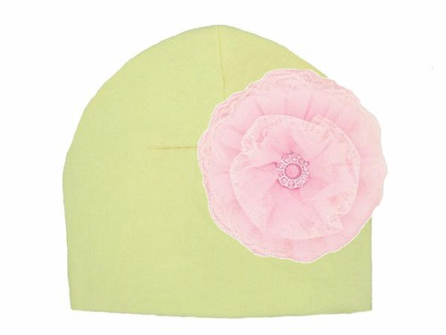 Cream Cotton Hat with Pale Pink Lace Rose