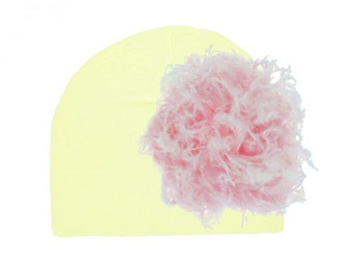 Cream Cotton Hat with Pale Pink Large Curly Marabou
