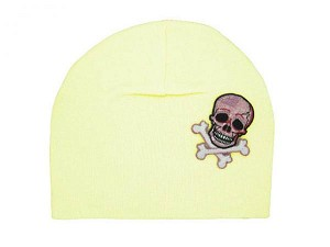 Cream Applique Hat with Pink White Skull