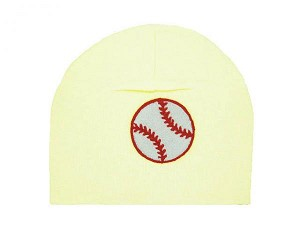 Cream Applique Hat with Red Baseball