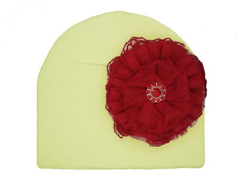 Cream Cotton Hat with Red Lace Rose