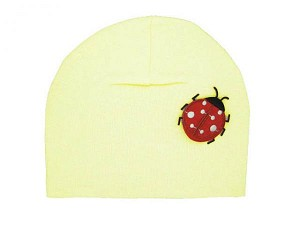 Cream Applique Hat with Red Ladybug
