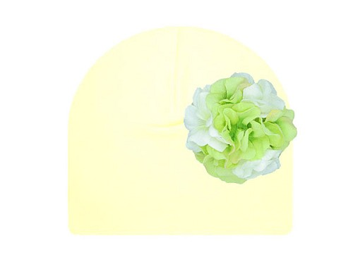 Cream Cotton Hat with White Green Large Geraniums