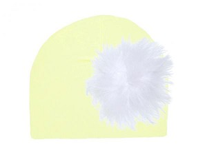 Cream Cotton Hat with White Large regular Marabou