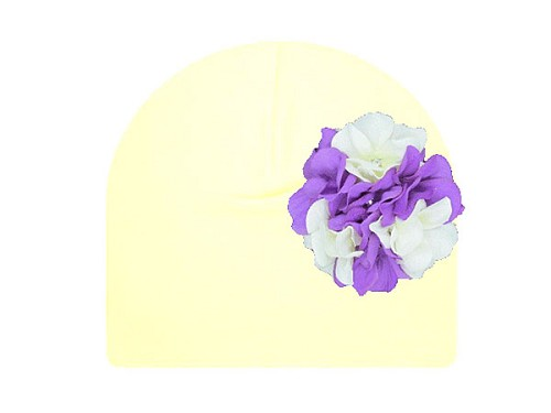 Cream Cotton Hat with White Purple Large Geraniums