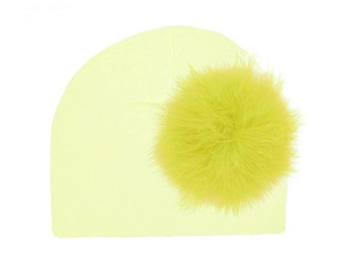 Cream Cotton Hat with Yellow Large regular Marabou
