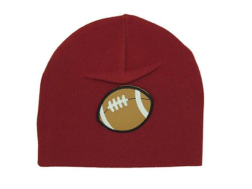 Crimson Applique Hat with Brown Football