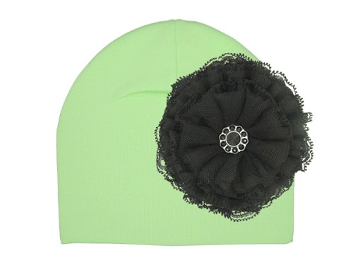 Light Aloe Cotton Hat with Black Lace Rose