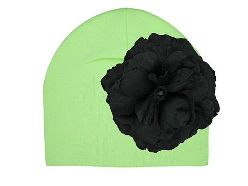 Light Aloe Cotton Hat with Black Large Rose