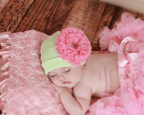 Light Aloe Cotton Hat with Candy Pink Lace Rose