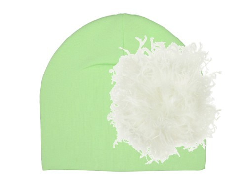 Light Aloe Cotton Hat with Cream Large Curly Marabou