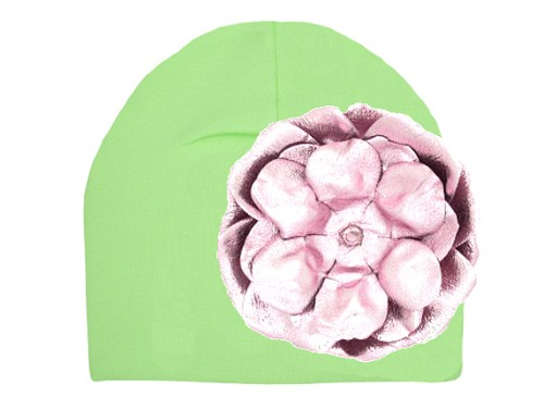 Light Aloe Cotton Hat with Metallic Pale Pink Rose