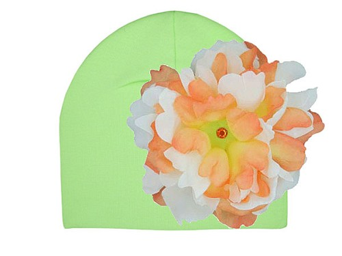 Light Aloe Cotton Hat with Orange White Large Peony