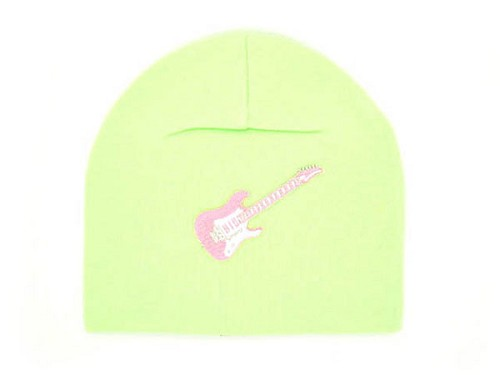 Light Aloe Applique Hat with Pale Pink Guitar