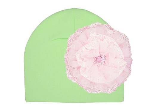 Light Aloe Cotton Hat with Pale Pink Lace Rose
