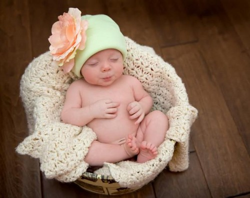 Light Aloe Cotton Hat with Pale Pink Large Rose