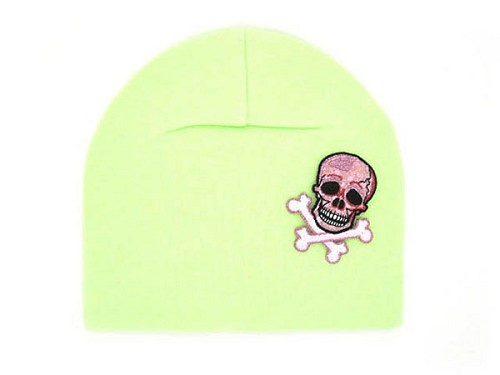Light Aloe Applique Hat with Pale Pink Skull