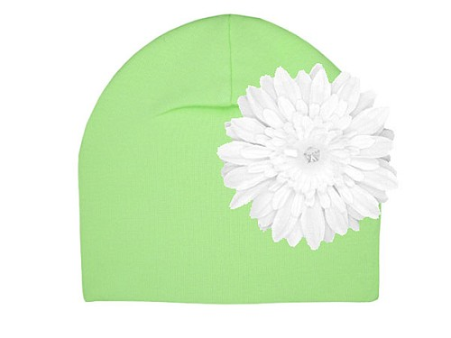 Light Aloe Cotton Hat with White Daisy