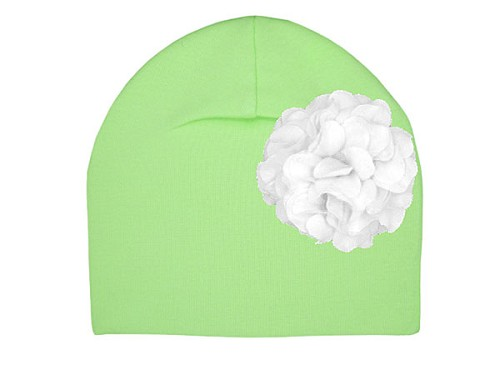 Light Aloe Cotton Hat with White Large Geraniums