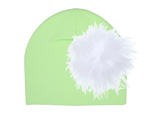 Light Aloe Cotton Hat with White Large regular Marabou