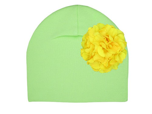 Light Aloe Cotton Hat with Yellow Large Geraniums