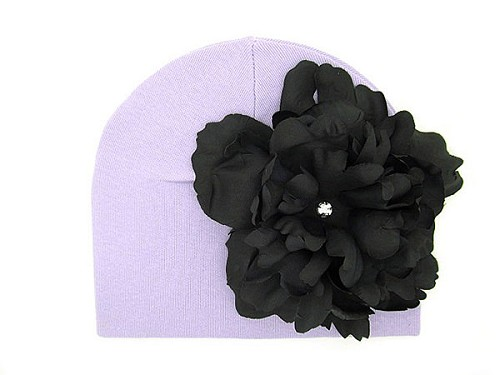 Lavender Cotton Hat with Black Large Peony