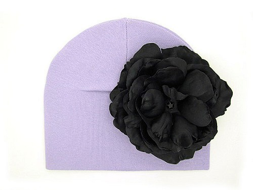 Lavender Cotton Hat with Black Large Rose
