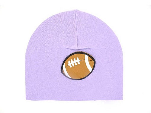 Lavender Applique Hat with Brown Football