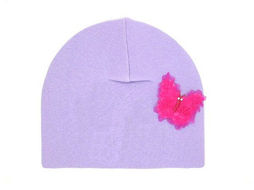 Lavender Applique Hat with Candy Pink Butterfly