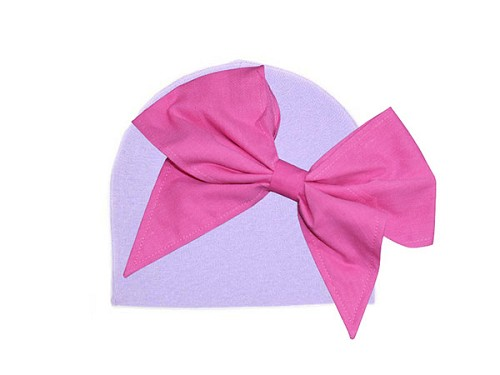 Lavender Cotton Hat with Candy Pink Bow-Rae-Mi