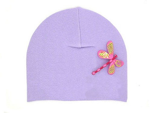 Lavender Applique Hat with Candy Pink Dragonfly