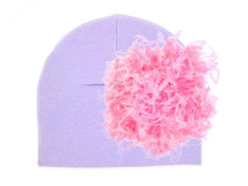 Lavender Cotton Hat with Candy Pink Large Curly Marabou
