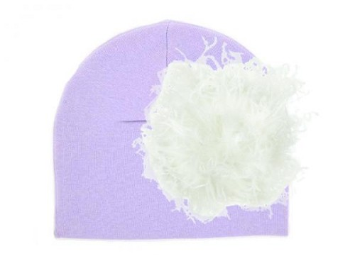 Lavender Cotton Hat with Cream Large Curly Marabou