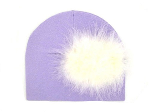 Lavender Cotton Hat with Cream Large regular Marabou