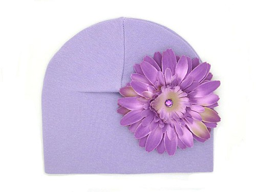 Lavender Cotton Hat with Lavender Daisy