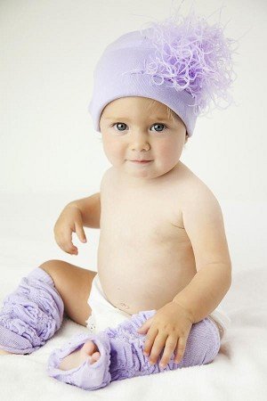 Lavender Cotton Hat with Lavender Large Curly Marabou