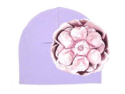 Lavender Cotton Hat with Metallic Pale Pink Rose