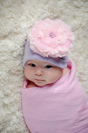 Lavender Cotton Hat with Pale Pink Lace Rose
