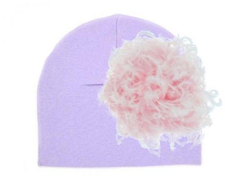 Lavender Cotton Hat with Pale Pink Large Curly Marabou