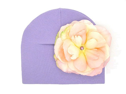 Lavender Cotton Hat with Pale Pink Large Rose