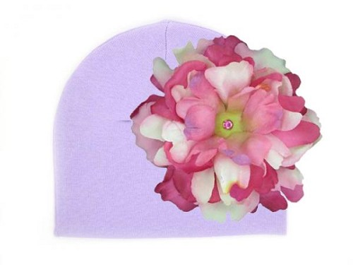 Lavender Cotton Hat with Pink Raspberry Large Peony
