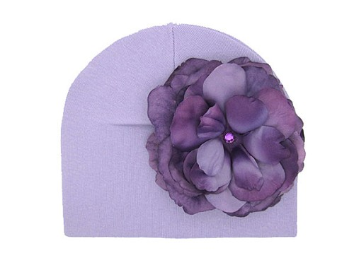 Lavender Cotton Hat with Purple Large Rose