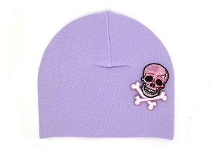 Lavender Applique Hat with Pink White Skull