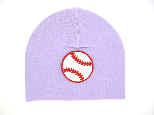 Lavender Applique Hat with Red Baseball