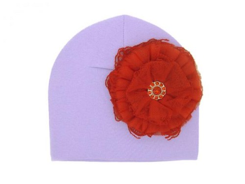 Lavender Cotton Hat with Red Lace Rose