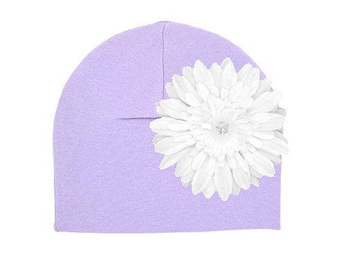 Lavender Cotton Hat with White Daisy