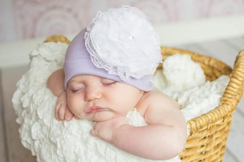 Lavender Cotton Hat with White Lace Rose