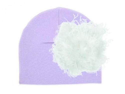 Lavender Cotton Hat with White Large Curly Marabou